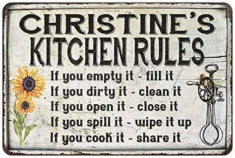 Amazon Com Christine S Kitchen Rules Chic Sign Vintage