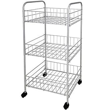 Nuevo 3 Tier estante de cocina cromo carro de almacenamiento ruedas verduras frutas carro estante de almacenamiento: Amazon.es: Hogar