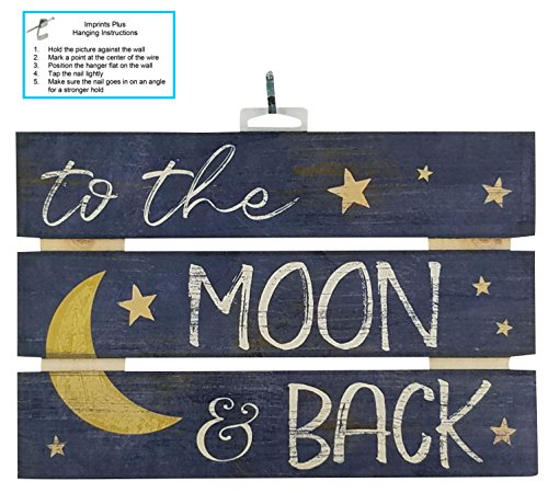"Sign Moon Wood (Imprints Plus To The Moon And Back Inspirational Reclaimed Wood Sign, 12"" x 8"" Rustic Wall Decor Plaque with Hangers Bundle by 12500014)"