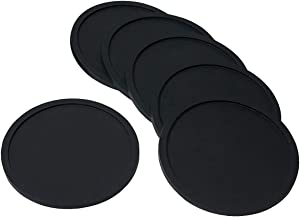 ENJOYPRO Drink Costers Set of 6 Piece, Silicone Cup Coasters for Table, Desk, Beverage, Coffee, Tea, Bar (Black)