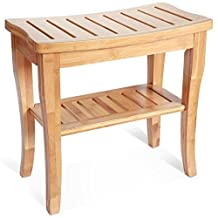 Deluxe Bamboo Shower Seat Bench with Storage Shelf.