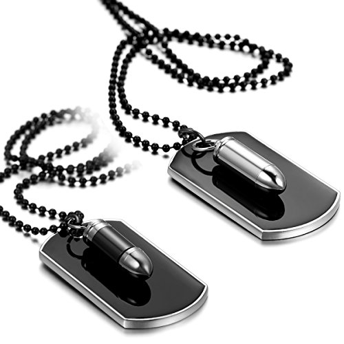 Flongo Men's Womens 2PCS Biker Alloy Bullet Army Dog Tag Pendant Necklace, 27.5 inch Chain