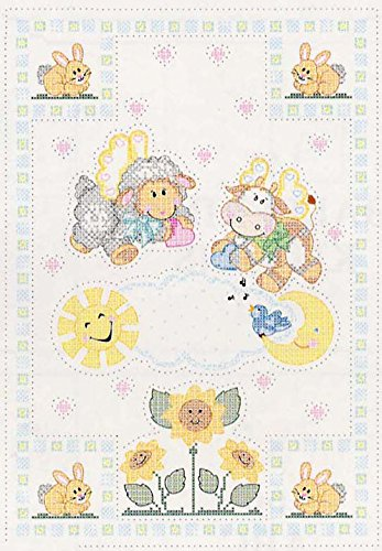 Jack Dempsey Stamped White Quilt Crib Top, 40-Inch by 60-Inch, Baby Love Bears 4060 93