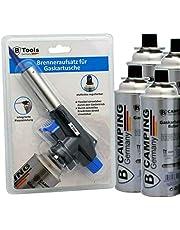 TronicXL Bunsenbrander + 4 butaangas cartridge soldeerbrander gasbrander camping gasaansteker soldeerlamp met piëzo-ontsteking instelbare vlamgrootte voor gasgarkspuiten met MSF-1A aansluiting dakbrander