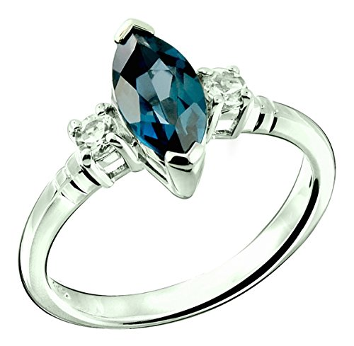 Sterling Silver 925 Ring LONDON BLUE TOPAZ and WHITE TOPAZ 1.60 Carats with Rhodium-Plated Finish (7) (Ring Topaz Marquise)