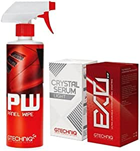 Gtechniq EXOv3, Crystal Serum Light Ceramic Composite Coating Paint Protection & Panel Wipe 30ml Bundle