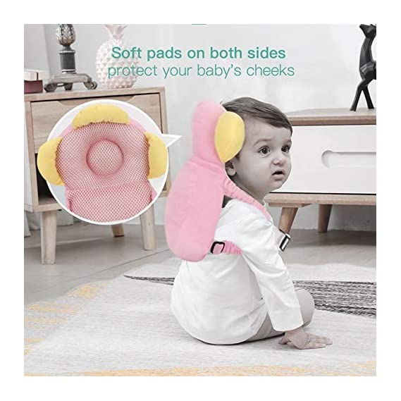 E-SHOPY MART Baby Head Protector for Crawling or Corner Guard, Protection Helmet and Infant Headrest Pillow with Front Safety Lock (Pink)