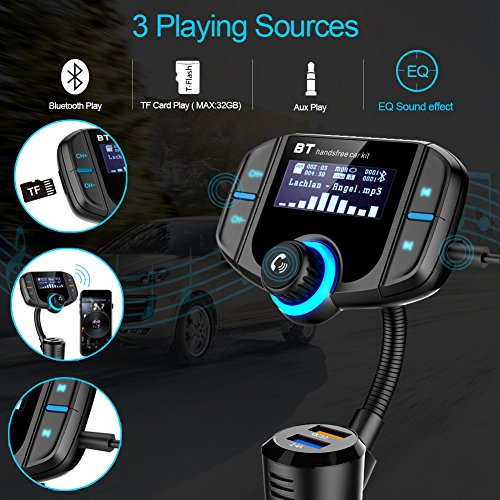 Bluetooth FM Transmitter with QC 3.0, LUMAND Wireless in-Car Radio Adapter Hands Free Car Kit with 1.7 inch Display and Dual USB Car Charger AUX Input TF Card Slot by LUMAND (Image #4)