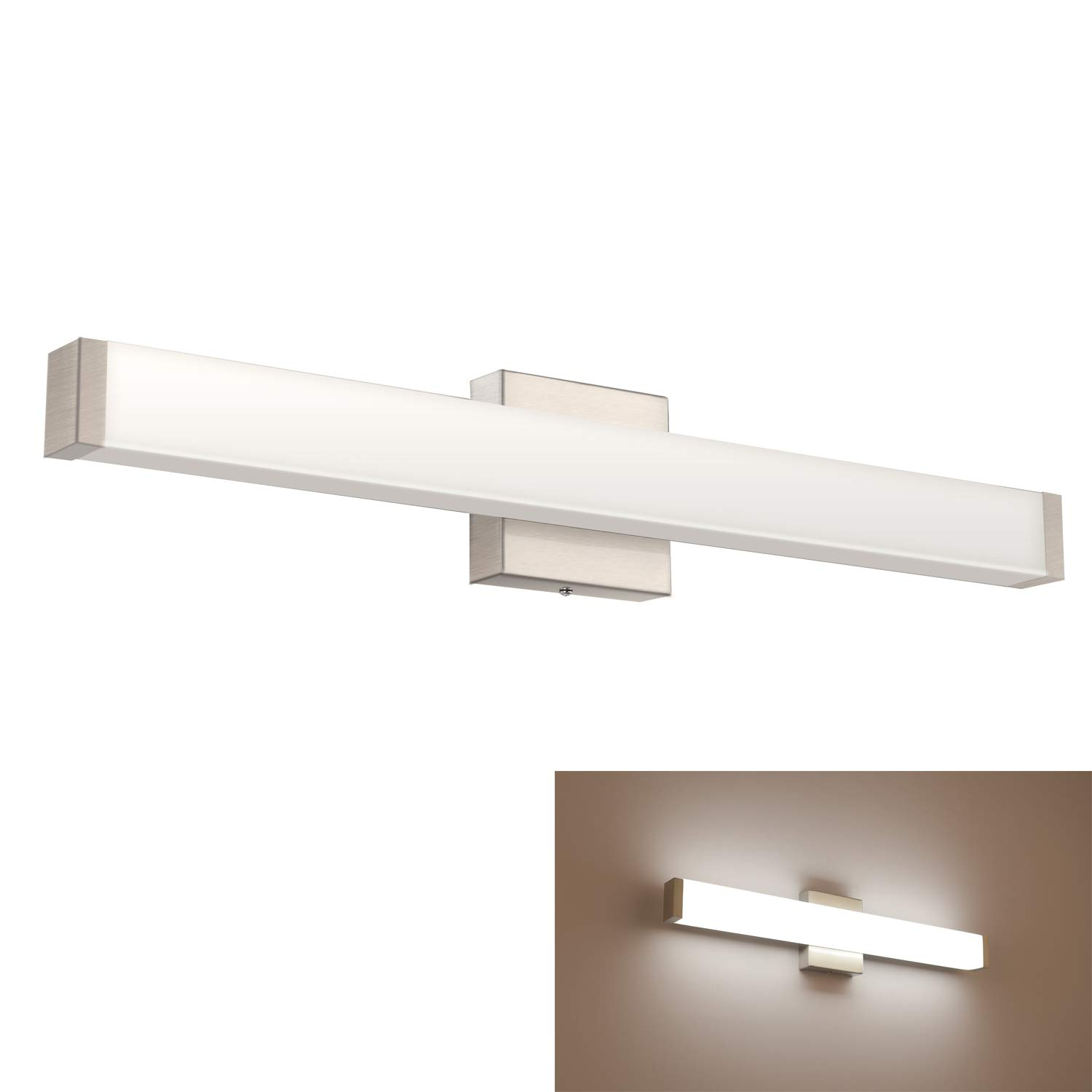 YHTlaeh Bathroom Vanity Light Brushed Nickel Square LED 24 inch 14W Daylight 4000K Wall Bar Lighting Fixtures Over Mirror