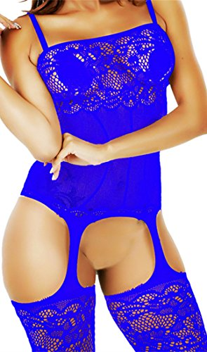 Daisland Women Sexy Lingerie Sleepwear Nightwear Fishnet Bodysuit Bodystocking (Blue 0332)
