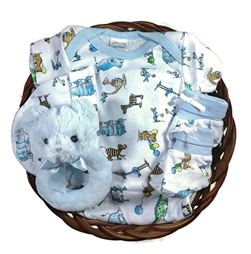 Gift Basket for a Boy Baby Shower - Teddy Bear Gift Set (Baby Gift Baskets)