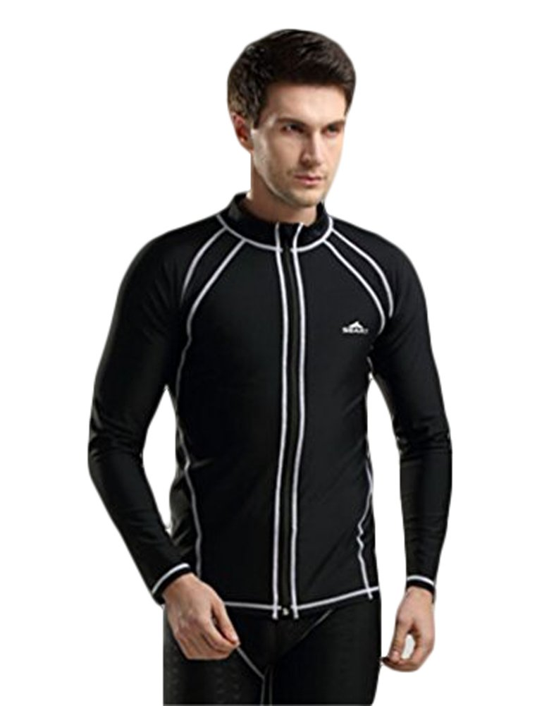Fashion outdoor diving equipment long sleeves snorkeling swimming tops with zipper for men