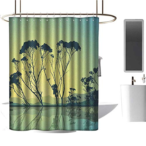 - Qenuan Extra Long Shower Curtain Tree,Tree Silhouettes with Reflections on The Water Scenic National Park Countyside Print, Blue Yellow,for Bathroom Showers, Stalls and Bathtubs 72