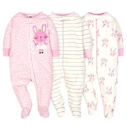 (Gerber Onesies Baby Girl Sleep N Play Sleepers 3 Pack (0-3 Months, Princess))
