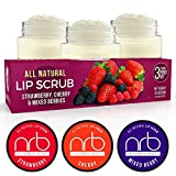 NRB Beauty Revival Lip Scrub 3 Piece Set - All Natural Sugar Based - Exfoliating & Moisturizes Chapped Dry Lips - 0.5 oz Each - Made In The USA - Mixed Berries