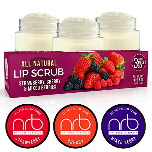 NRB Beauty Revival Lip Scrub 3 Piece Set - All Natural Sugar Based - Exfoliating & Moisturizes Chapped Dry Lips - 0.5 oz Each - Made In The USA - Mixed Berries by NRB