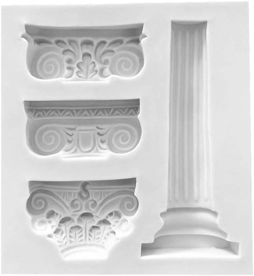 Manyo. Molde de silicona para repostería, diseño de columna romana en 3D para 4 paneles, jabón, cupcakes, mini magdalenas, chocolate