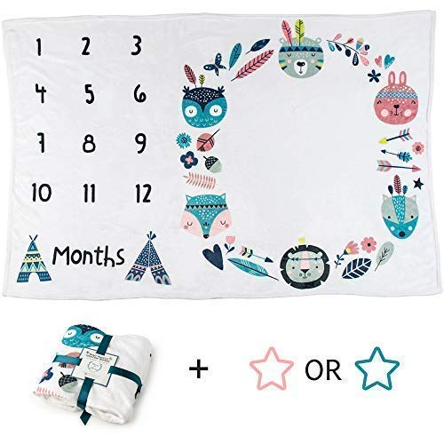 Baby Monthly Milestone Blanket | Woodland Animals Tribal Boho | Boy or Girl | Premium Soft Fleece | Large Size (Includes Pink Star Felt Frame) -