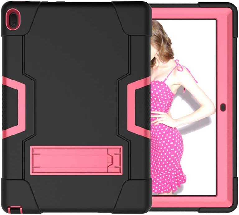 Koolbei Case for Lenovo Tab E10 (TB-X104F), Heavy-Duty Drop-Proof and Shock-Resistant Rugged Hybrid case(with Built-in Stand), for Lenovo Tablet 2018 Tab E 10 10.1 Inch Case (Black/Rose red)