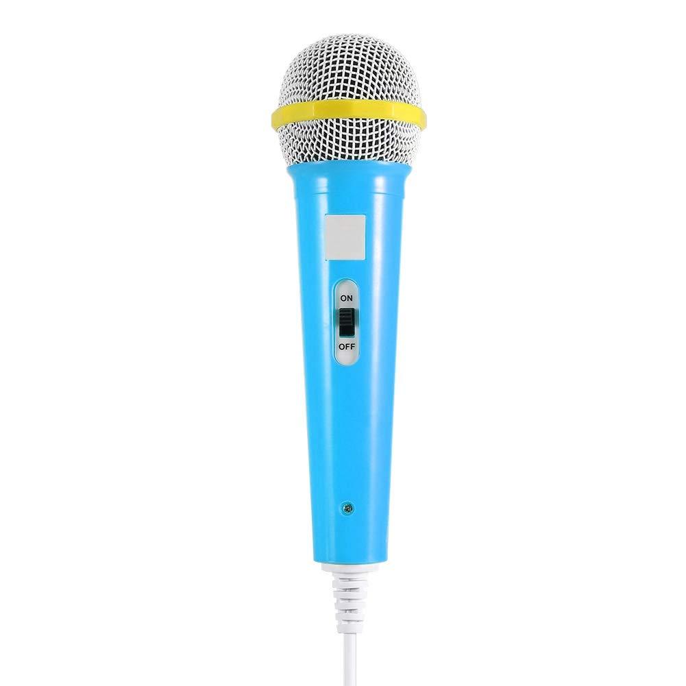Microphone Enfant Jouet Musical Microphone Filaire Portable Karaoké Prise 3.5MM Cadeau pour Enfants(Bleu) Eboxer