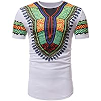 ZOMUSAR Mens Casual African Floral Pattern Print Bright Dashiki O- Neck Cotton Shirt Variety Colors Dress Shirts