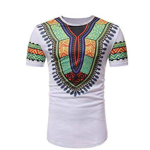 (YAYUMI Men's African Wind Ethnic Short Sleeve Printed Muscle T-Shirt Short Sleeve Top Blouse White)