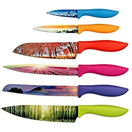 Landscape Kitchen Knife Set in Gift Box - Stunning Gifts For Her and For Him - 6-Piece Colored Sharp Chef Knives Set - Perfect Present for Birthday, Relationship, Friends, Family, Holidays, Graduation 20 WHAT A BEAUTIFUL VALUE! First, you marvel at the beauty of Chef's Vision Knives, with each colorful blade displaying a stunning landscape from around the world. But the best is yet to come - because Chef's Vision Knives perform as beautifully as they look! They're more than the most gorgeous knives you and your kitchen have ever seen, because their superior materials, ergonomic design and quality manufacturing make Chef's Vision a fabulous value, one you'll appreciate every time you use them. WHAT A BEAUTIFUL GIFT! What's the best thing Chef's Vision Knives make? That's easy: they make the perfect gift! Chef's Vision Knives not only look beautiful and can prepare your favorite dishes but they also make a stunning, unique present - whether it's for the Holidays, Mother's Day, for newlyweds, a great Father's Day gift, a graduation or birthday gift...and maybe best of all, a gift for yourself and your whole family! And each set arrives in a beautiful gift box! WHAT A BEAUTIFULLY CRAFTED SET OF KNIVES! The blades are high quality, durable stainless steel honed to razor sharpness for cutting ease. The solidly constructed handles are ergonomically designed for a balanced, secure grip, and they're color-coded so busy chefs can easily find the right knife, to help prevent food cross-contamination. Plus, they're dishwasher safe and are food safety approved by the FDA in America, LFGB in Germany, SGS in Switzerland, EC in Europe and DGCCRF in France.