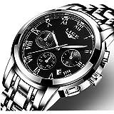 Watch,Mens Watches,Mens Luxury Fashion Black Steel Waterproof Chronograph Quartz Analog Wrist Watch