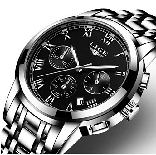 Watch,Mens Watches,Mens Luxury Fashion Stainless Steel Waterproof Chronograph Quartz Analog Wrist Watch … (SilverBlack)