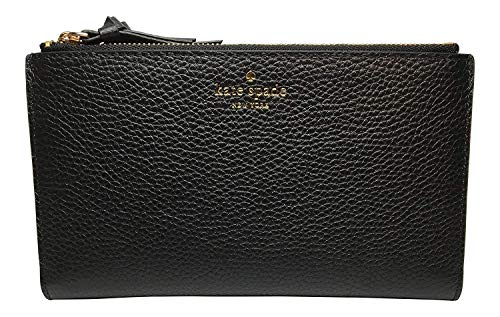 Kate Spade New York Malea Larchmont Avenue Double Zip Pebbled Leather Wallet Black -