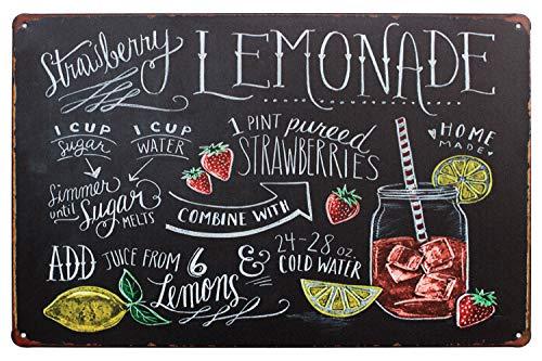 Sumik Strawberry Lemonade, Metal Tin Sign, Vintage Art Poster Plaque Kitchen Home Wall Decor]()
