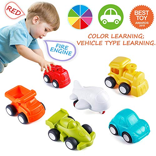 VATOS Toddler Car Toys, 6 Pack Toy Cars for 1 2 Years Old with Free Wheel City Traffic Little Cars,Toy Cars for Toddlers Early Educational Toddler Toys]()
