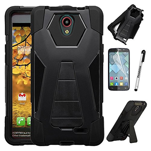 - For Alcatel Raven Case, Phonelicious Shockproof [Military Drop Tested] w/Kickstand [Heavy Duty Case] Impact Resistant Cover with Screen Protector for Alcatel A574BL (BLACK)
