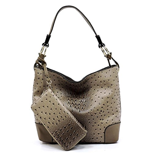 2 PC Set Ostrich Croco Embossed Vegan Faux Leather Hobo Shoulder Bag Classic Bucket Purse with Matching Wallet (STONE)