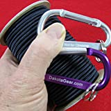 """Dakota Gear (TM) Shock Cord - US NAVY SEAL MIDNIGHT BLUE 1/4"""" x 25 ft. Hank. Marine Grade. Also called Bungee Cord, Stretch Cord & Elastic Cord. Made In USA. 2 Carabiners and Knot Tying"""