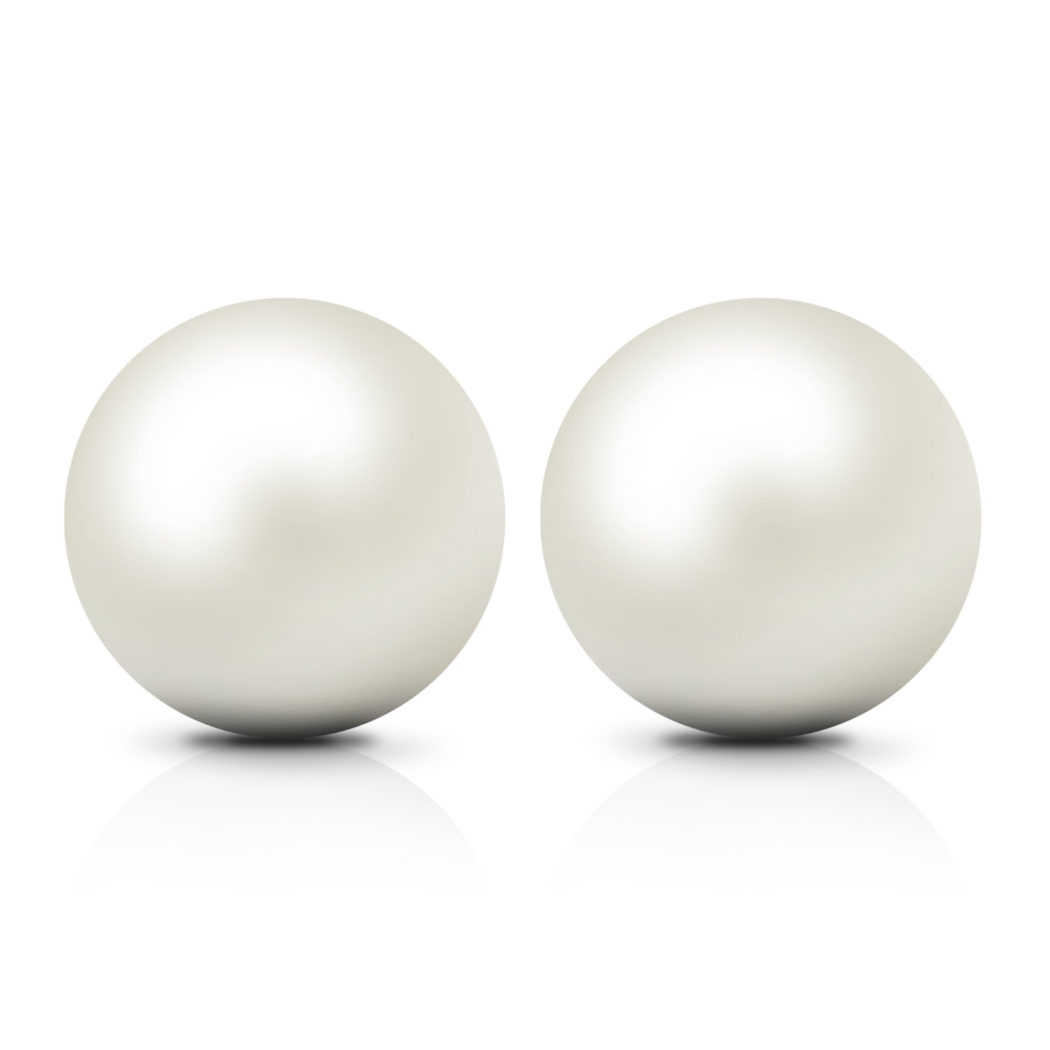 JewelryPalace Women's 6-10mm Freshwater Cultured Pearl Button Ball Stud Earrings 925 Sterling Silver AE300221