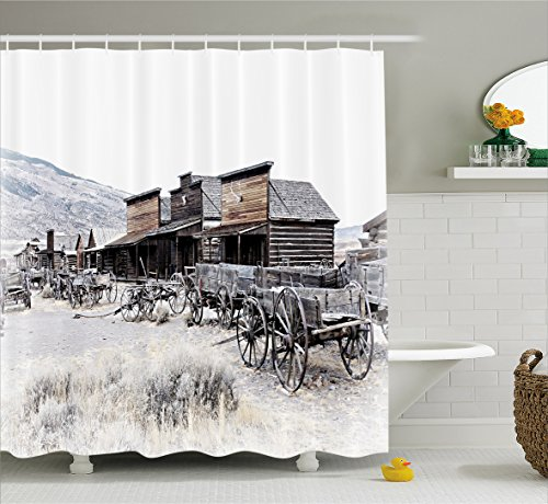 Western Wagon (Western Decor Shower Curtain by Ambesonne, Old Wooden Wagons from 20's in Ghost Town Antique Wyoming Wheels Art Print, Fabric Bathroom Decor Set with Hooks, 70 Inches, Brown White)