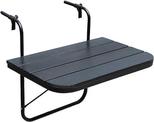 Sundale Outdoor Folding Deck Table Patio Garden Adjustable Balcony Hanging Railing Table