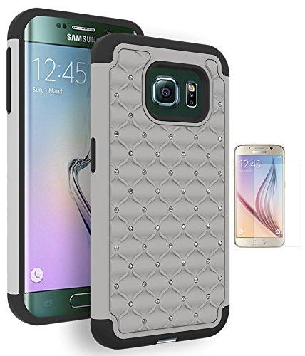 Galaxy S6 Edge Case, Bastex Heavy Duty Hybrid Protective Armor Case - Soft Black Silicone Cover Grey Rhinestone Bling Design Hard Case for Samsung Galaxy S6 Edge G925INCLUDES SCREEN PROTECTOR