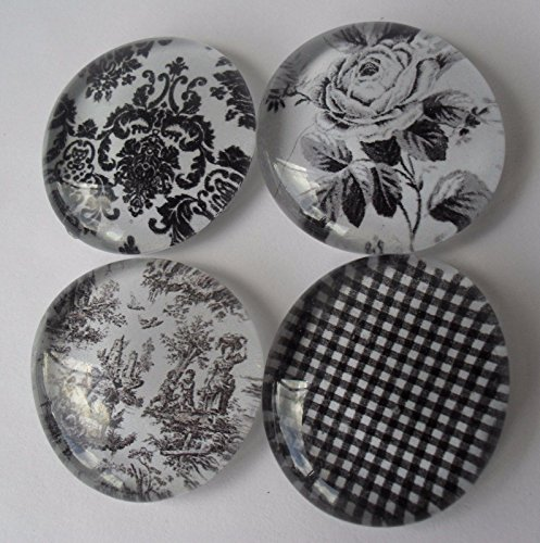 Damask Magnet (Black TOILE Glass Magnet set of 4 Flowers Damask Gingham)