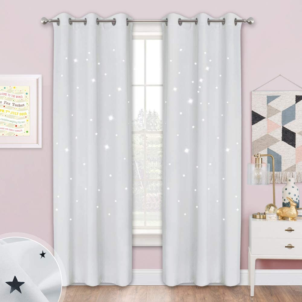 Lavender Pink=Baby Pink, 2 Panels, 52 inches x 84 inches Die-Cut Star Blackout Drapes Window Treatment Draperies for Space Theme Bedroom NICETOWN Star Cut Out Curtains