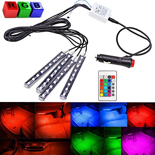 AUDEW 4-Piece 8 Colors Car Interior Light Strips 9LED 6W Waterproof Neon Decoration Lamp LED, Interior Underdash Lighting Kit, Control Wireless Interior Atmosphere lights Lamp (Led Strips For Cars compare prices)