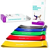 Resistance Bands - Best Exercise Loop Band Set of 5 - FREE EBOOK - Workout Equipment for Yoga Crossfit Fitness Pilates Strength Physical Therapy Mobility Recovery - Training Body Legs Glutes Butt