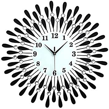 LLWW Large Diamond Luxury Living Room Wall Clock Iron European Modern Fashion Creative Personality Mute
