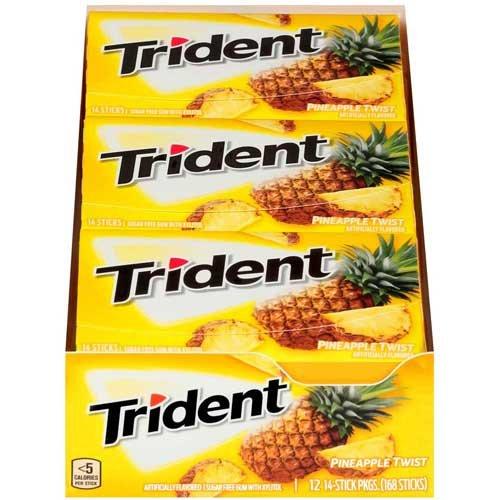 Trident Pineapple Twist Sugar Free Gum, 14 count per pack - 144 per case.