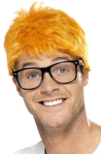 Smiffy's Men's 90's TV Host Kit, Wig and Glasses, One Size, Colour: Yellow and Black, 43680 (Tv Host Costume)