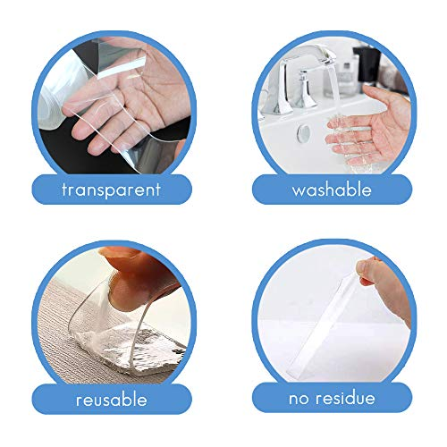 Nano Double Sided Tape, Magic Removable Gel Grip Tape, Multipurpose Wall Mounting Tape, Washable Strong Sticky Transparent Tape for Photo Poster Home/Office Fix Carpet Mats (Clear, 3.28FT/1M)