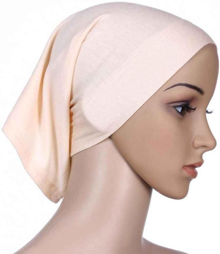 Gankmachine Il sudore Donne Foulard elastico cotone assorbente underscarf Hijab Cap Tubo beige