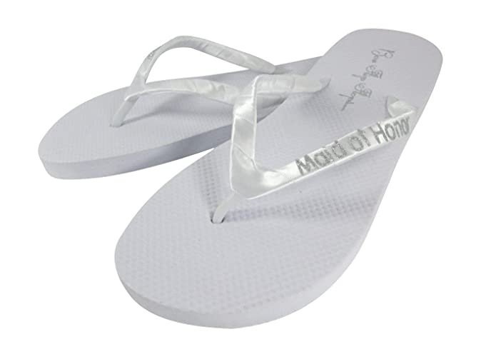 7a7178a78e81ec Amazon.com  Maid Of Honor Glitter Lettering Flip Flops - white or black and choose  bling color  Handmade