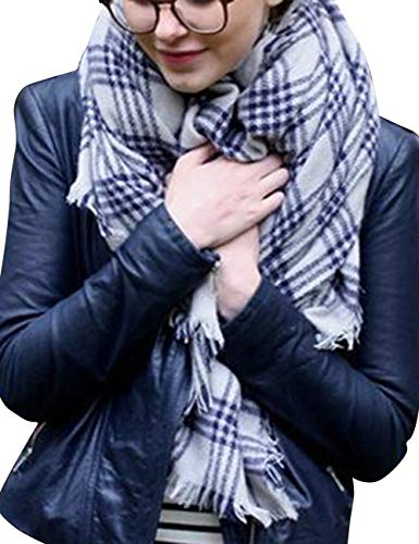 Bess Bridal Women's Plaid Blanket Winter Scarf Warm Cozy Tartan Wrap Oversized Shawl Cape (One Size, Griege) ()